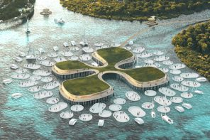 This lillypad-inspired floating sustainable city was designed to support emission free transportation