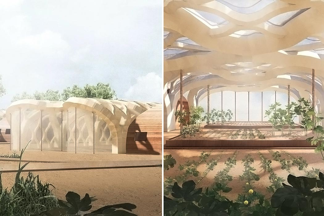 These origami greenhouses reduce plastic waste using a sustainable material: inflatable bamboo!