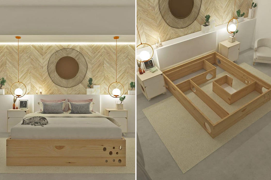 This Bedframe Hides A Cat Maze And Is A Dream Den For You And Your Pet Yanko Design