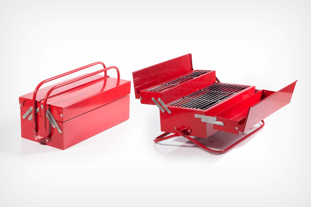 This portable grill looks just like a classic metal toolbox!