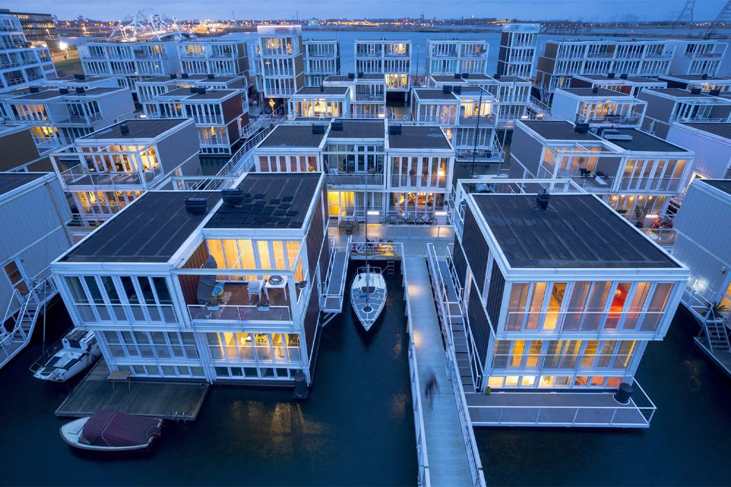 These floating homes in Amsterdam are designed to beat the rising sea levels and escape the growing city population