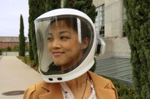 This astronaut-inspired PPE helmet has an air filter and even its own Bluetooth comms system!