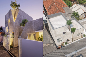 These two family homes are connected by trees in the concrete alleys of Cipulir, South Jakarta