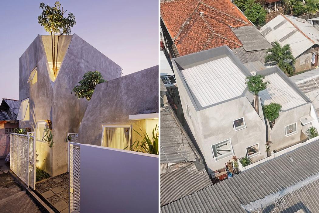 Эти два семейных дома соединены деревьями в бетонных переулках города Чипулир, Южная Джакарта.