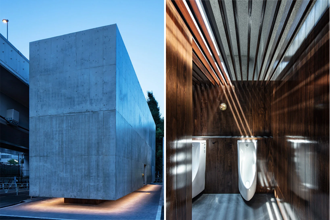 This floating concrete public bathroom comes outfitted with dark wood accents and an open sun roof!
