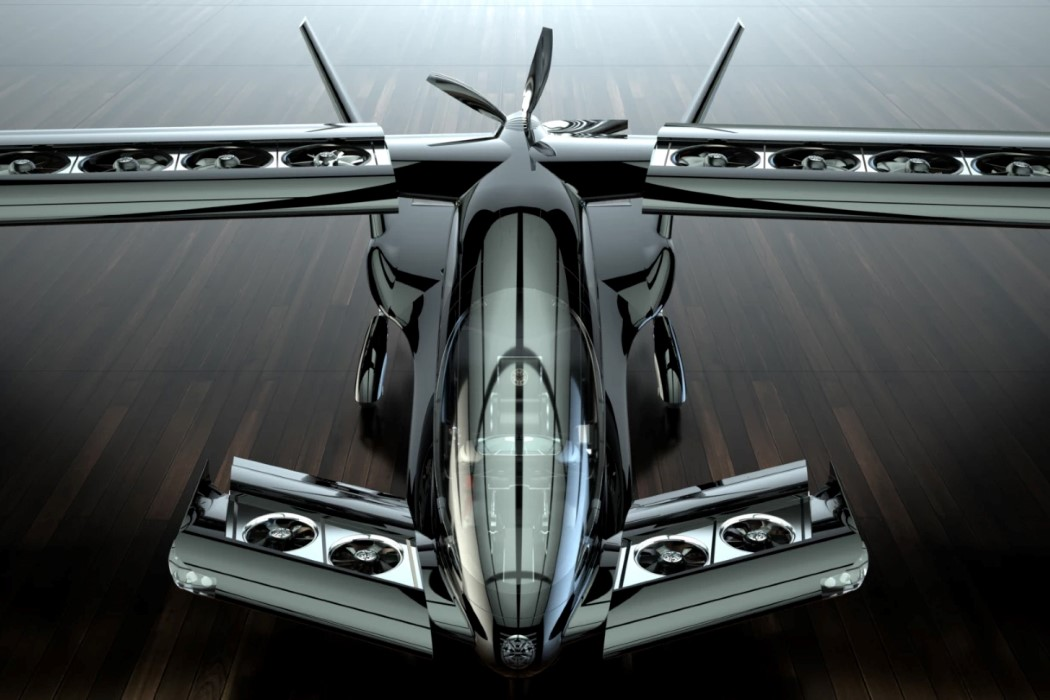 This stealth plane-inspired EVTOL comes with fans inside its wings, and can seat 5 people!