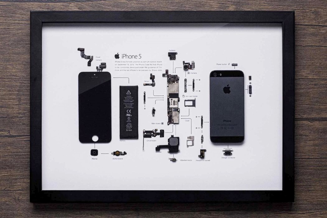 This framed disassembled iPhone 5 makes the perfect gift for any tech-lover