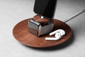 This handcrafted wooden dock+tray gives you an elegant spot to charge your Apple products