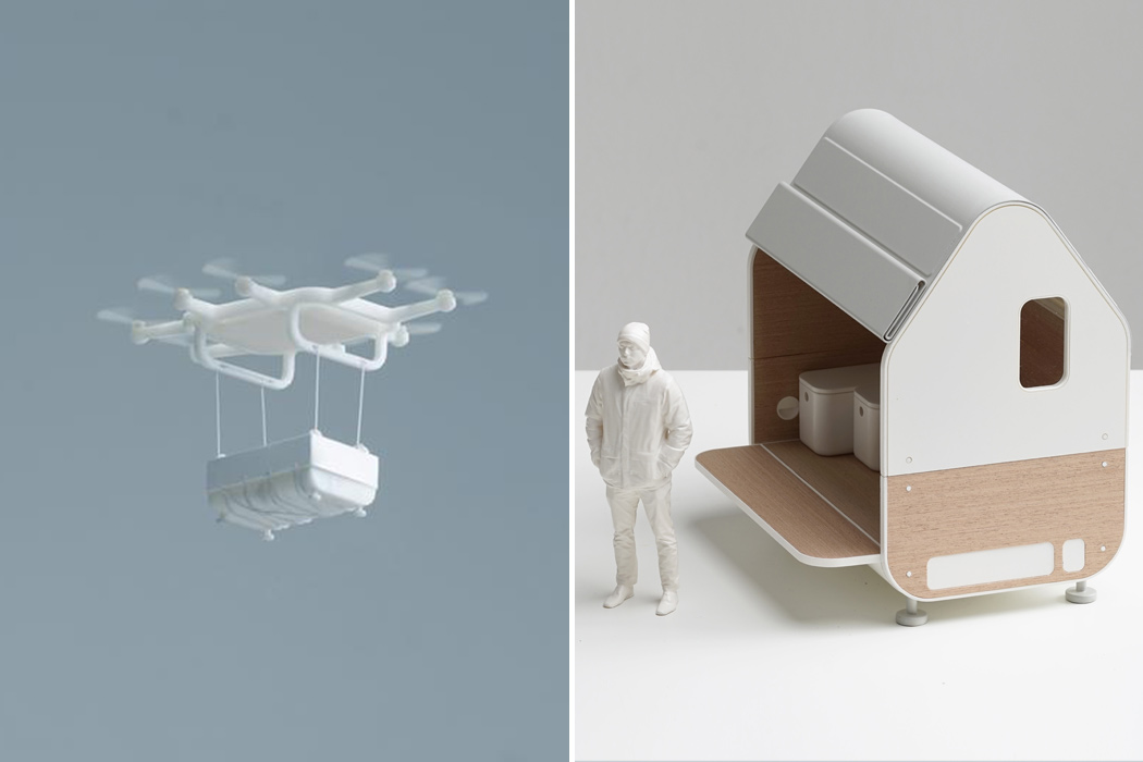 This mobile cabin comes with it's own cargo drone delivery service that saves the local environment from destruction!