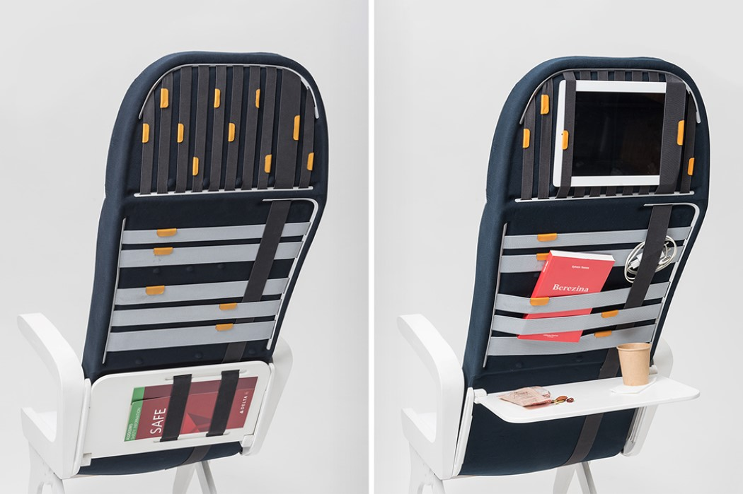 Innovative strap-system on the back of this airline seat makes it easy to store all your belongings