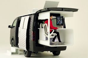 The Nissan Caravan Office Pod is a portable workstation + camper to help retain your work-life balance