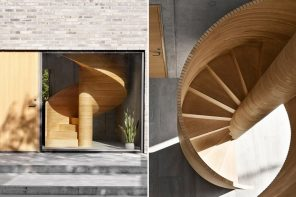 This concrete cubic home's CNC cut plywood spiral staircase visible from the outside!