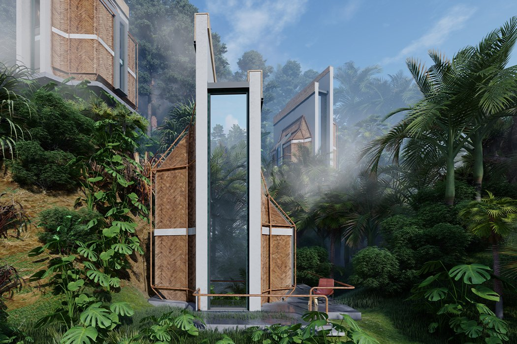 These Balinese cabins use natural materials and minimal design to immerse guests in the environment!