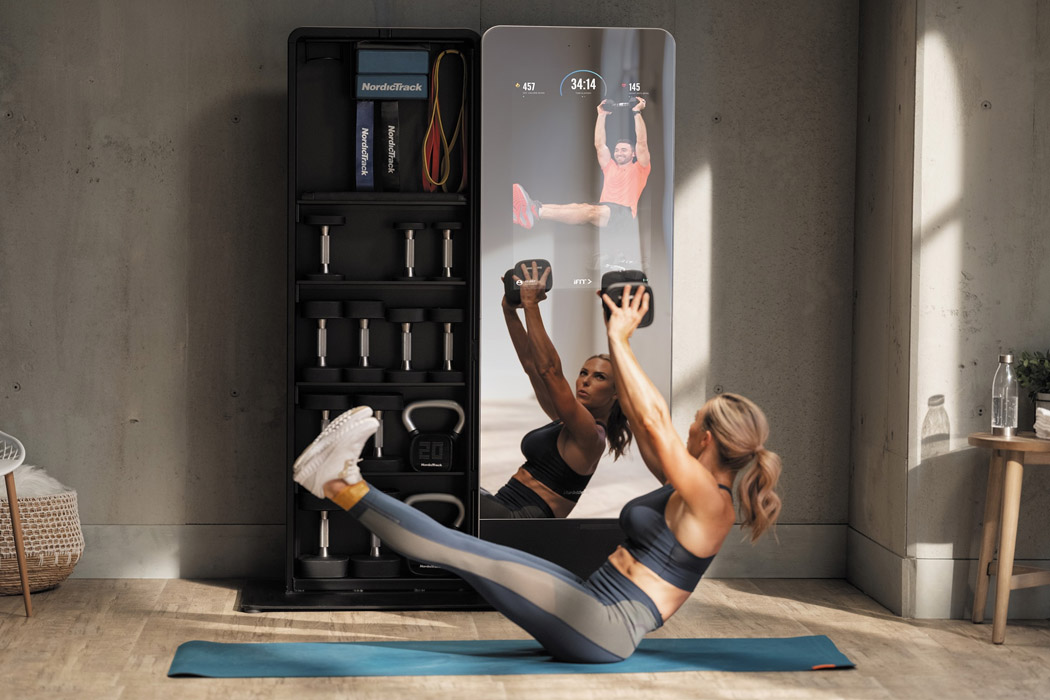 This home gym comes with a smart fitness mirror designed to help you workout like a pro!