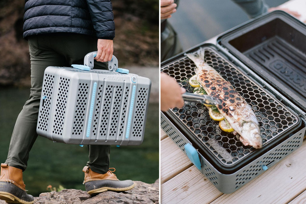 This portable BBQ grill + smoker with a honeycomb pattern folds like a briefcase for cooking anytime, anywhere!