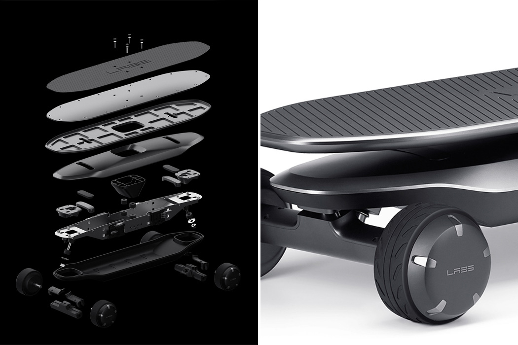 Just lean forward and this electric skateboard uses in-wheel motors and imu sensors to move for you