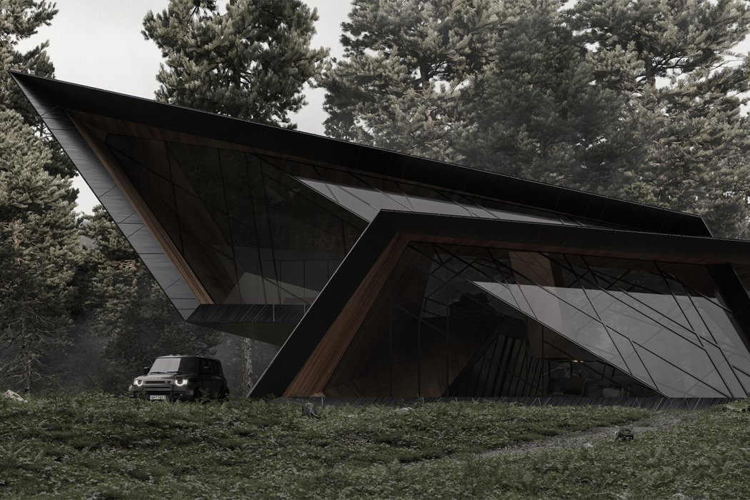 This jet-black cabin uses razor-sharp angles to create the ideal 007 getaway!