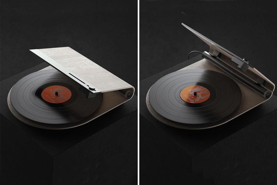 The sleek, geometric record player uses linear tracking for a fresh take on the classic turntable!