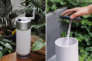 This handheld composting machine works just like a coffee-grinder, turning waste into nutrient-rich pulp!