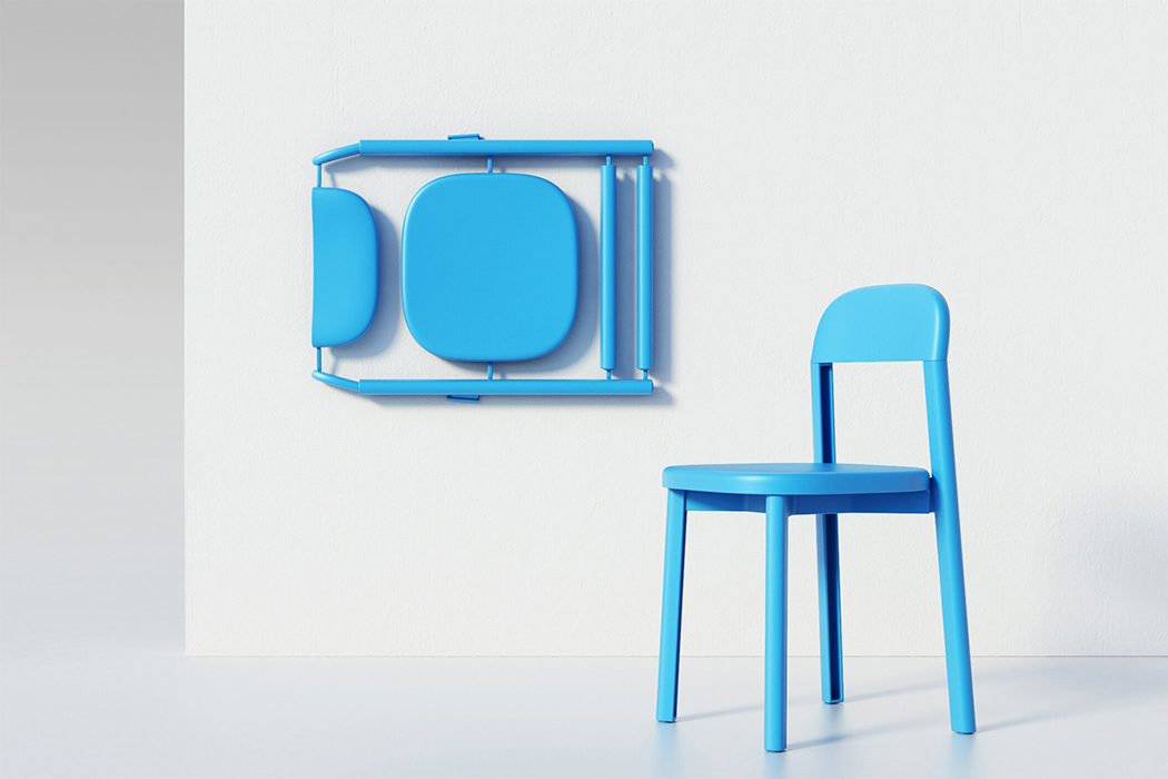 5 years in the making, this chair is produced in a single mold, reduces waste & saves space!
