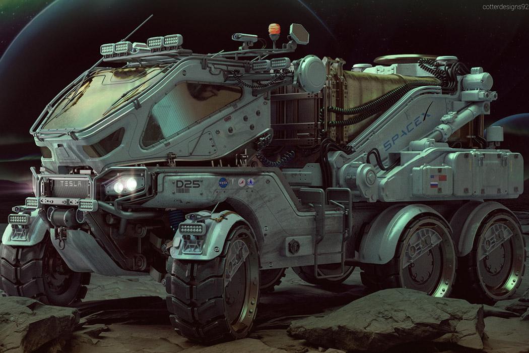 Этот модульный вездеход Tesla в стиле Cybertruck был разработан для исследовательских миссий на Марсе!