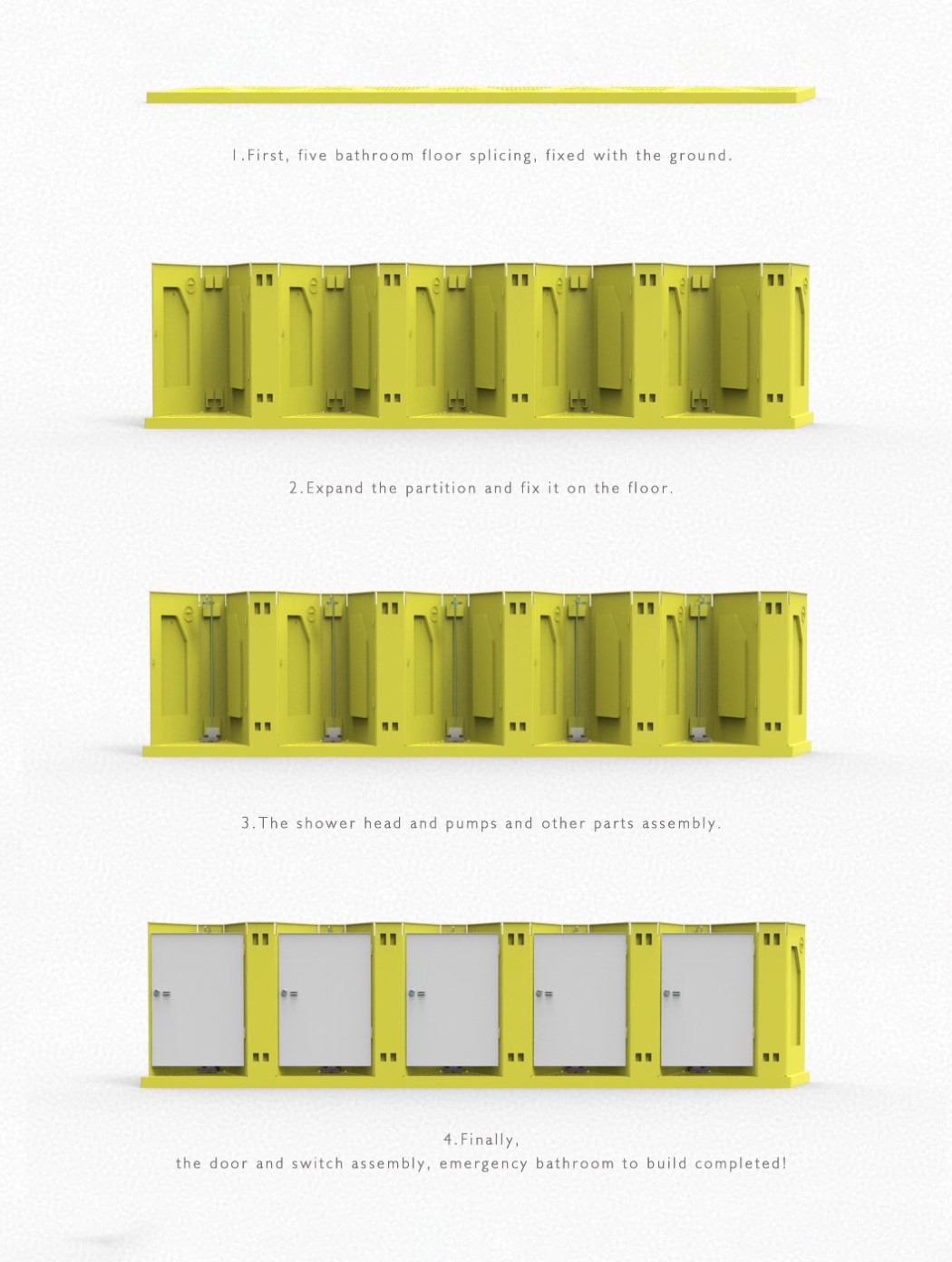 These foldable bathrooms can be instantly assembled at refugee camps