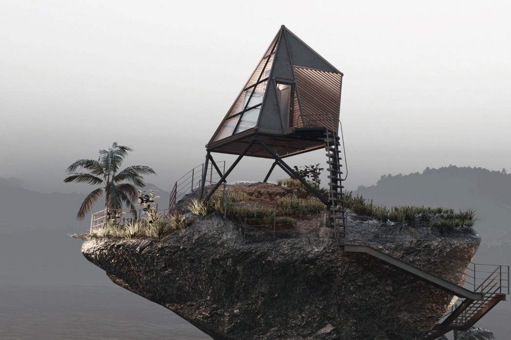This isolated cabin-on-a-rock makes for the perfect getaway from civilization