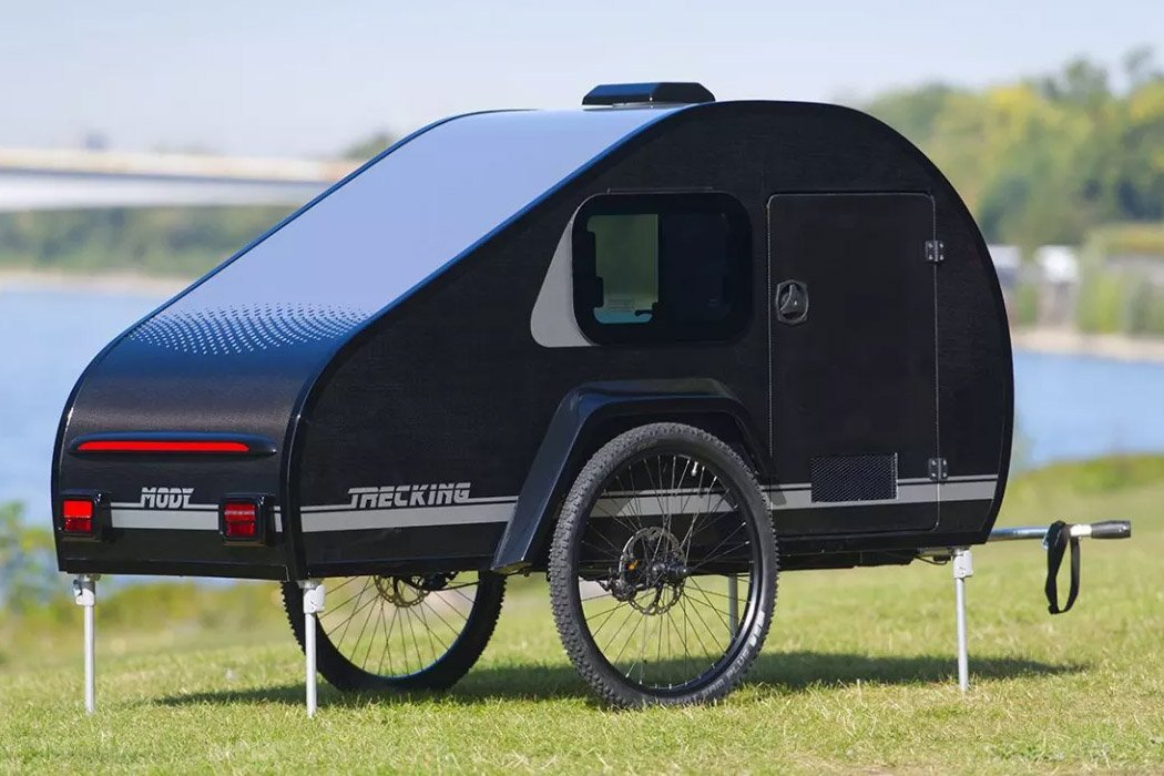 This bicycle towable teardrop trailer is made for solo camping adventures!