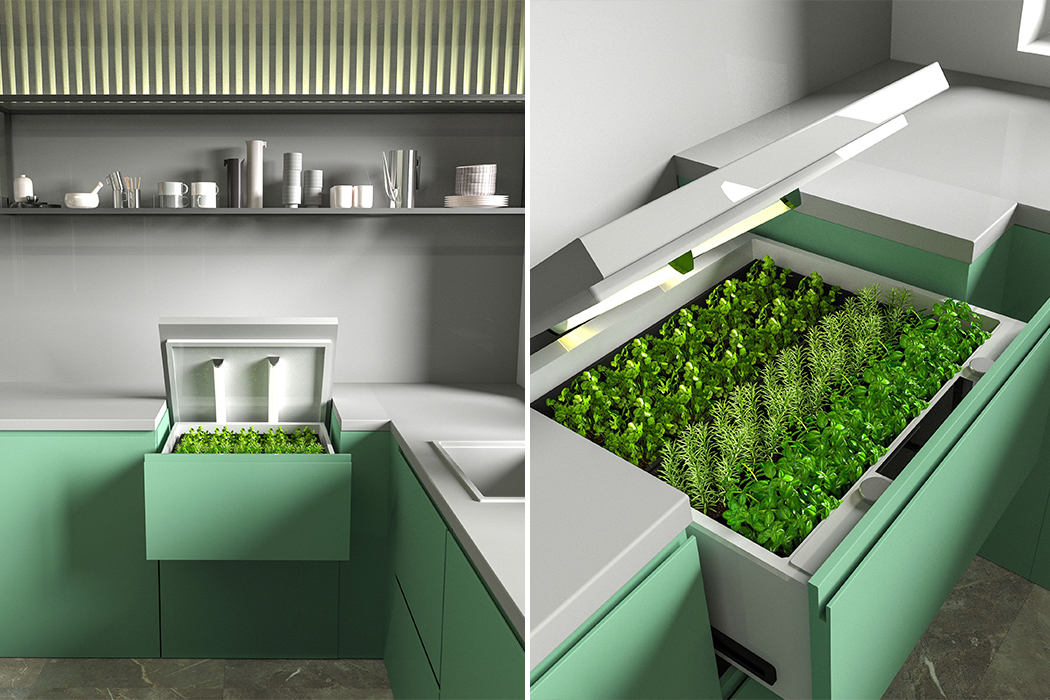 This herb garden was designed with smart monitoring tech & fits inside your kitchen cabinet to save space!