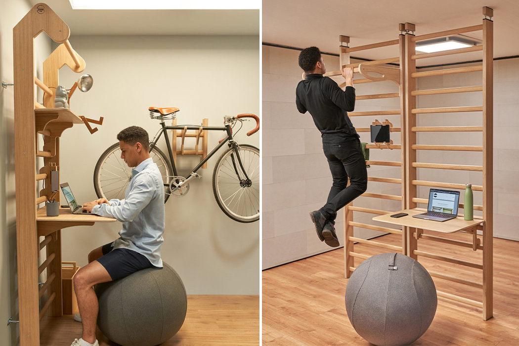 A space-saving work and workout setup designed to keep your mind & body healthy!