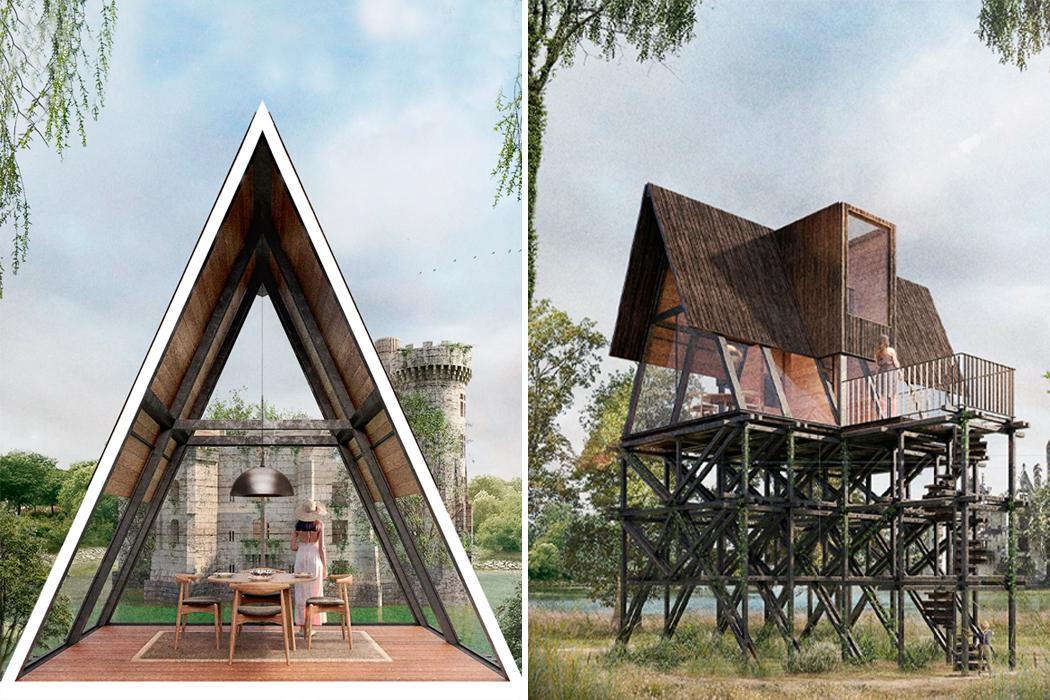 Модульные домики на дереве с треугольными скатными крышами открывают неограниченный вид на старый французский замок в сельской местности!