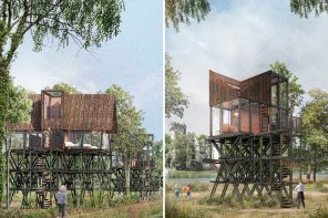 Modular treehouse units with triangular pitched roofs offer unlimited views of an old French château in the countryside!