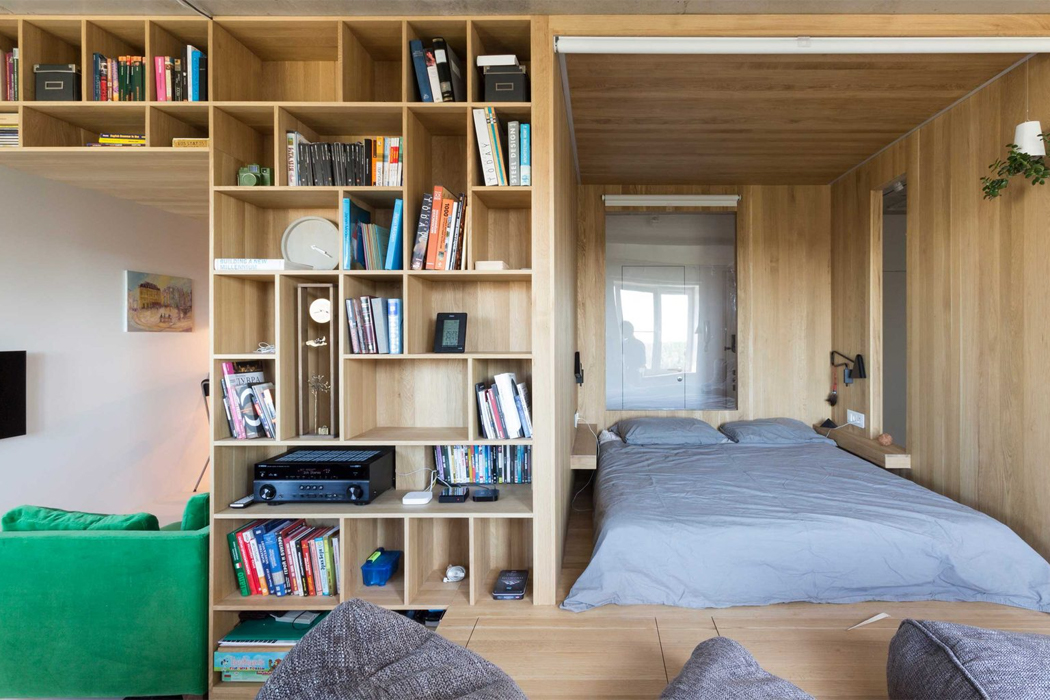 A Multifunctional Wooden Bedroom Box Creates A Whole New Room And Storage Area For This Tiny Apartment Yanko Design
