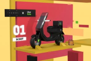 Canoo's iconic headlights carry forward beautifully in this UberEats Delivery Scooter concept