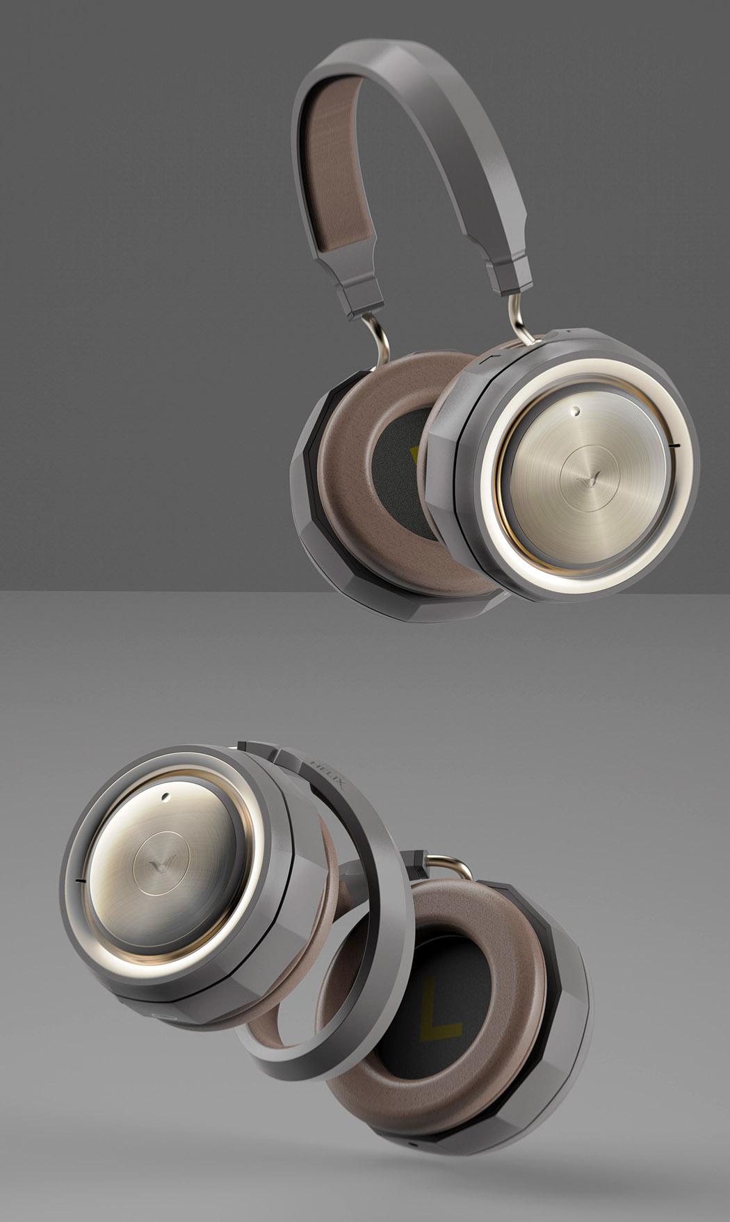 These sleek multifunctional headphones transform into a spiral-shaped speaker!