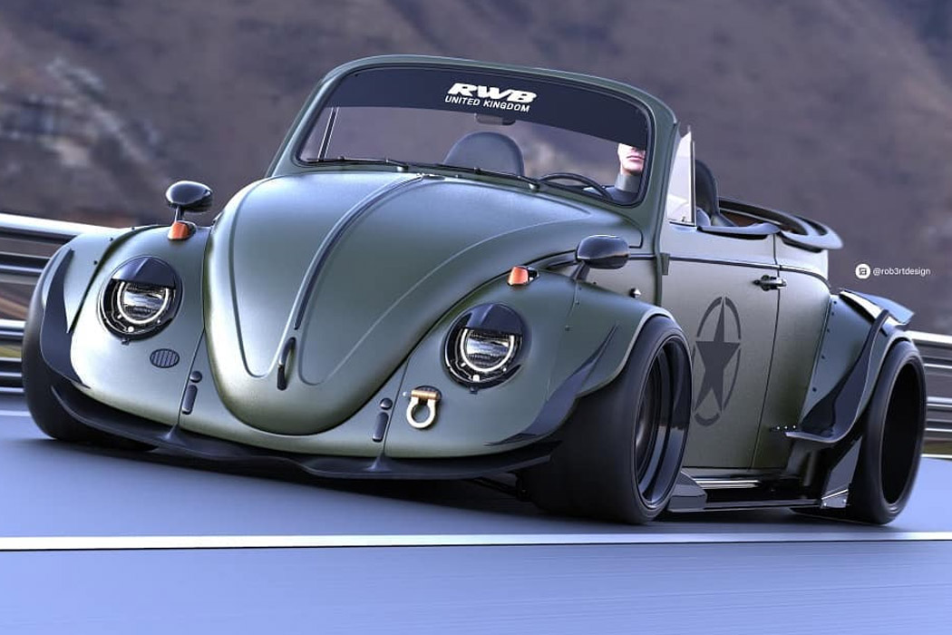 This low-slung Volkswagen Beetle roadster is an army-green, street drag racing beast!