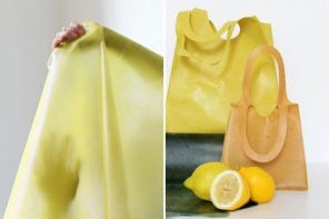 These reusable totes made from fruit skins is a green alternative to paper bags!