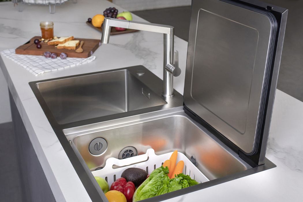 This space-saving sink features a top-load dishwasher to create counter space in tiny kitchens!