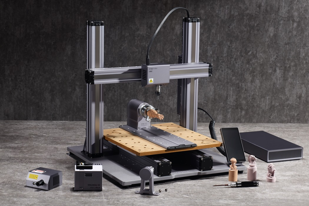 You can now turn your Snapmaker 2.0 into a high-precision 4-axis CNC machine with this new rotary module!