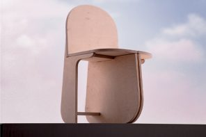This flat-pack chair is supported by three rounded legs and requires no tools for assembly!