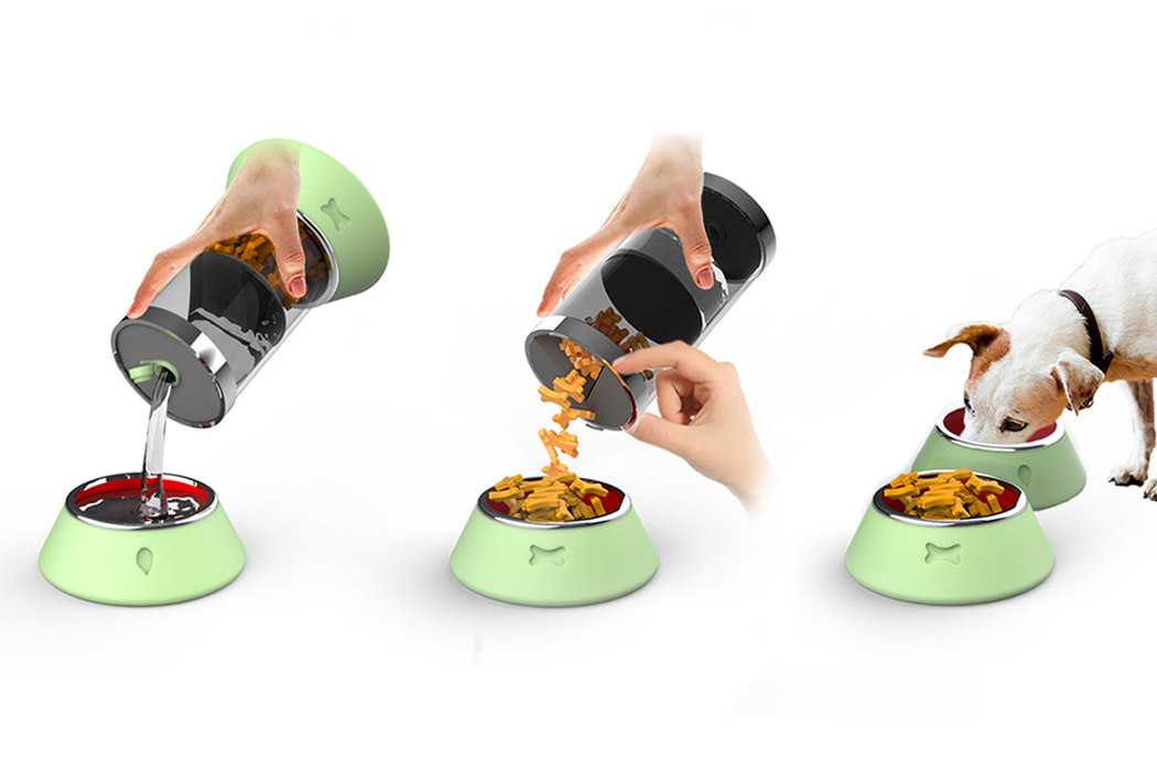 This portable food + water container with attached feeding bowls makes travels with your pet an ease!