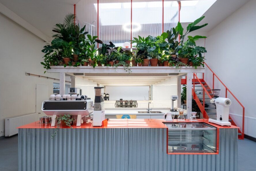 This upcycled coffee shop + roastery's plant-filled design is built up of 80% construction waste!