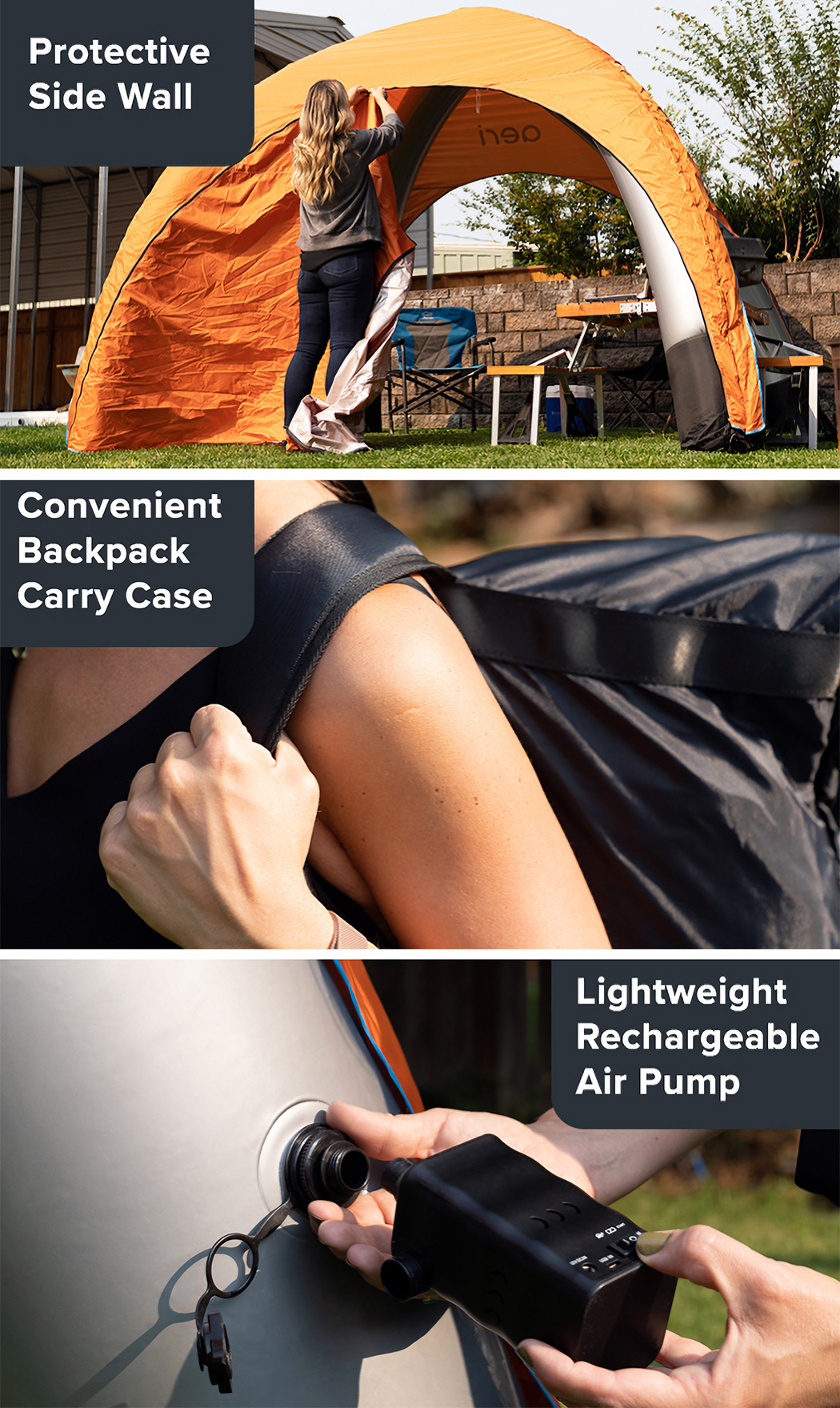This ultra-light, portable canopy automatically inflates in just 3 minutes to give you instant shelter anywhere