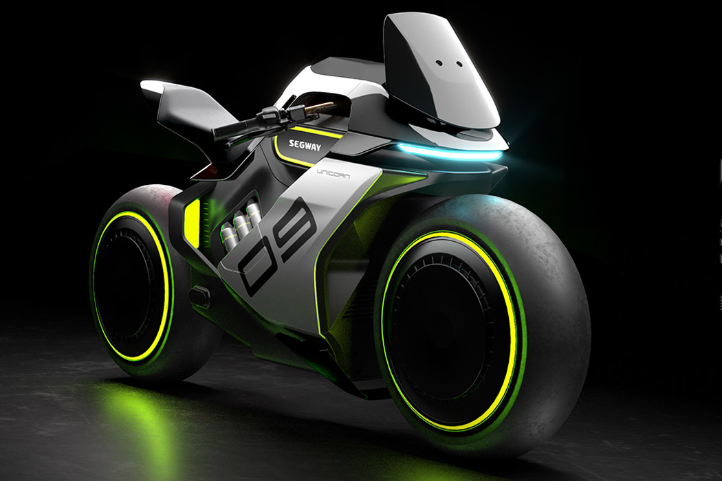 Segway's hydrogen electric hybrid bike is a more chubby, Tron-esque motorbike design!