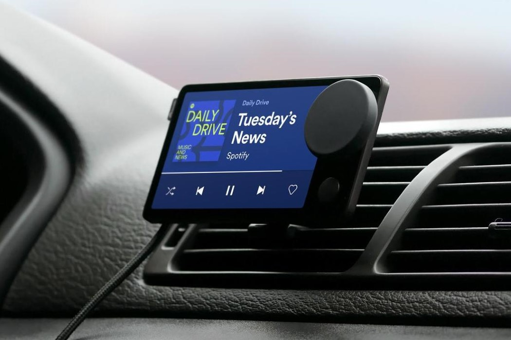 """Spotify launches its first hardware device, a touchscreen player for your car called the """"Car Thing"""""""