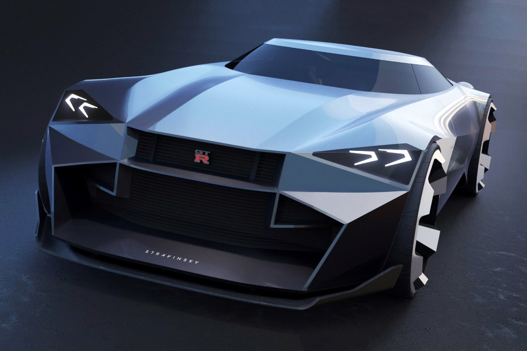 The Nissan GTR Stravinsky brings the edgy Cybertruck aesthetic to an American muscle car design