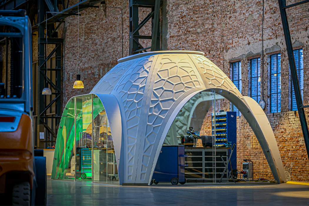 These 3D printed modular offices are built from recycled PET plastic for a sustainable workspace solution!