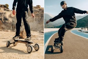 This all-terrain electric skateboard made for tough riders has no riding limits!