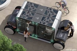 Self-sanitized autonomous pods combine public transit with safe socializing