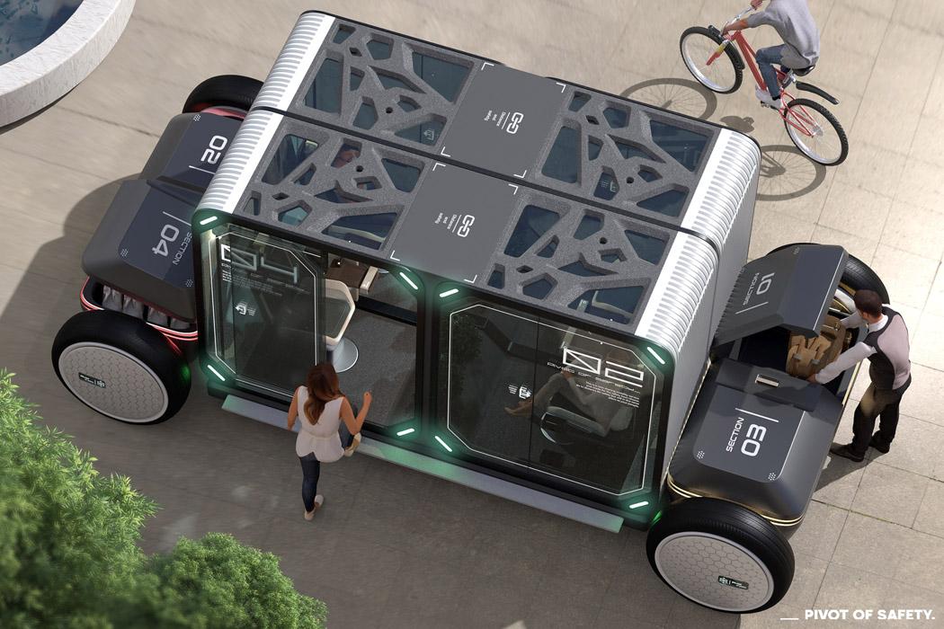 Self-sanitized autonomous pods combine public transit with safe socializing